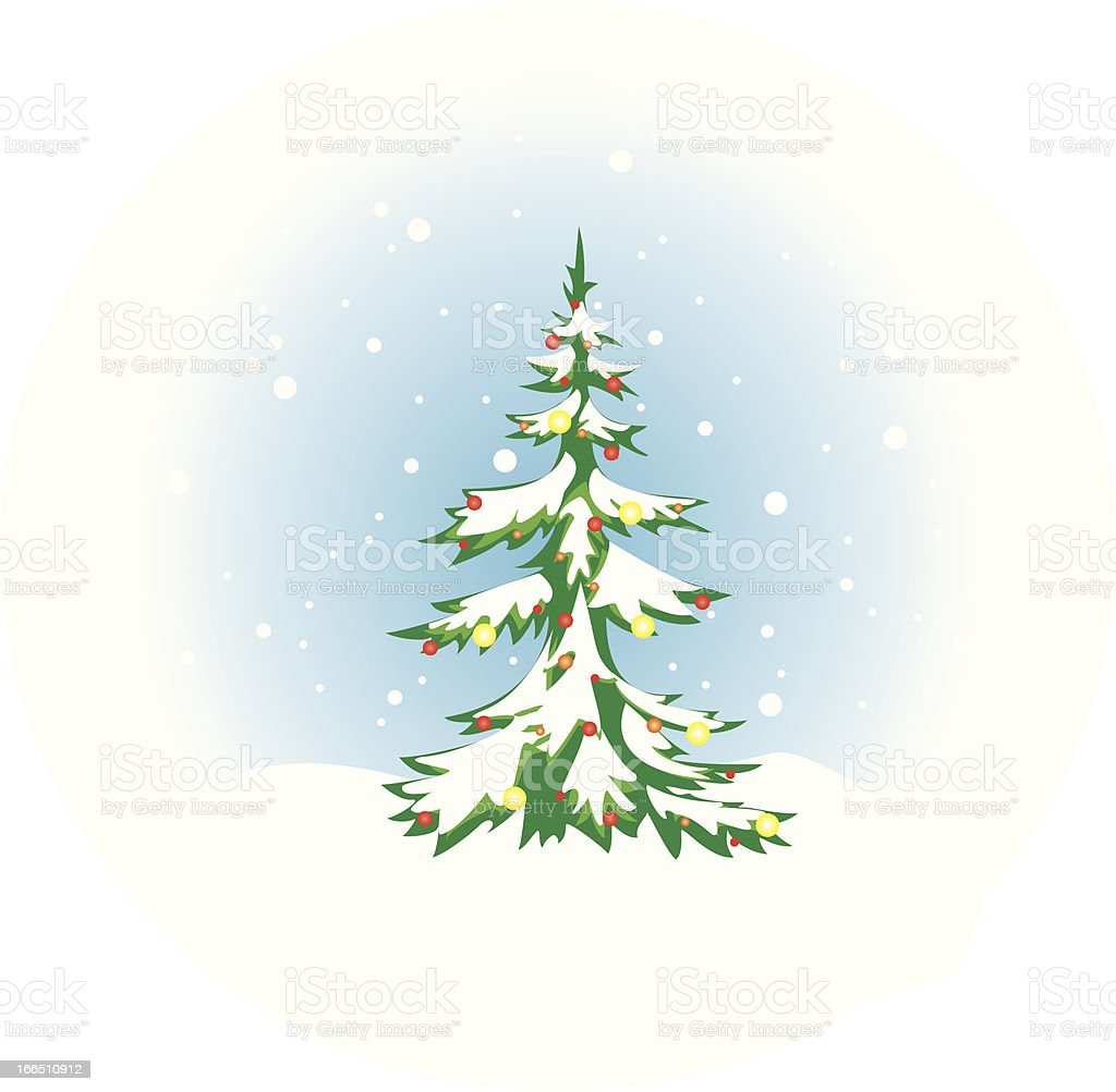 Christmas tree with snow and decoration royalty-free christmas tree with snow and decoration stock vector art & more images of blue