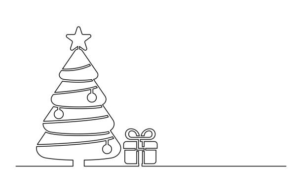 6 078 Christmas Tree Line Drawing Illustrations Royalty Free Vector Graphics Clip Art Istock