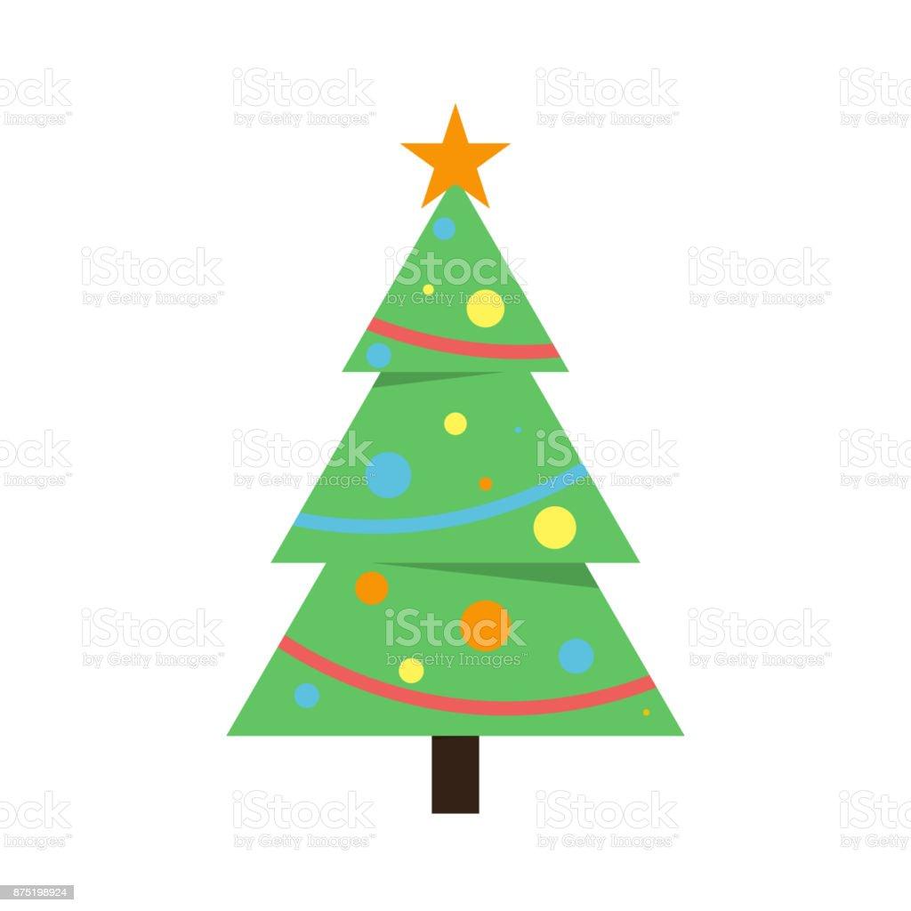 Christmas tree with star vector art illustration