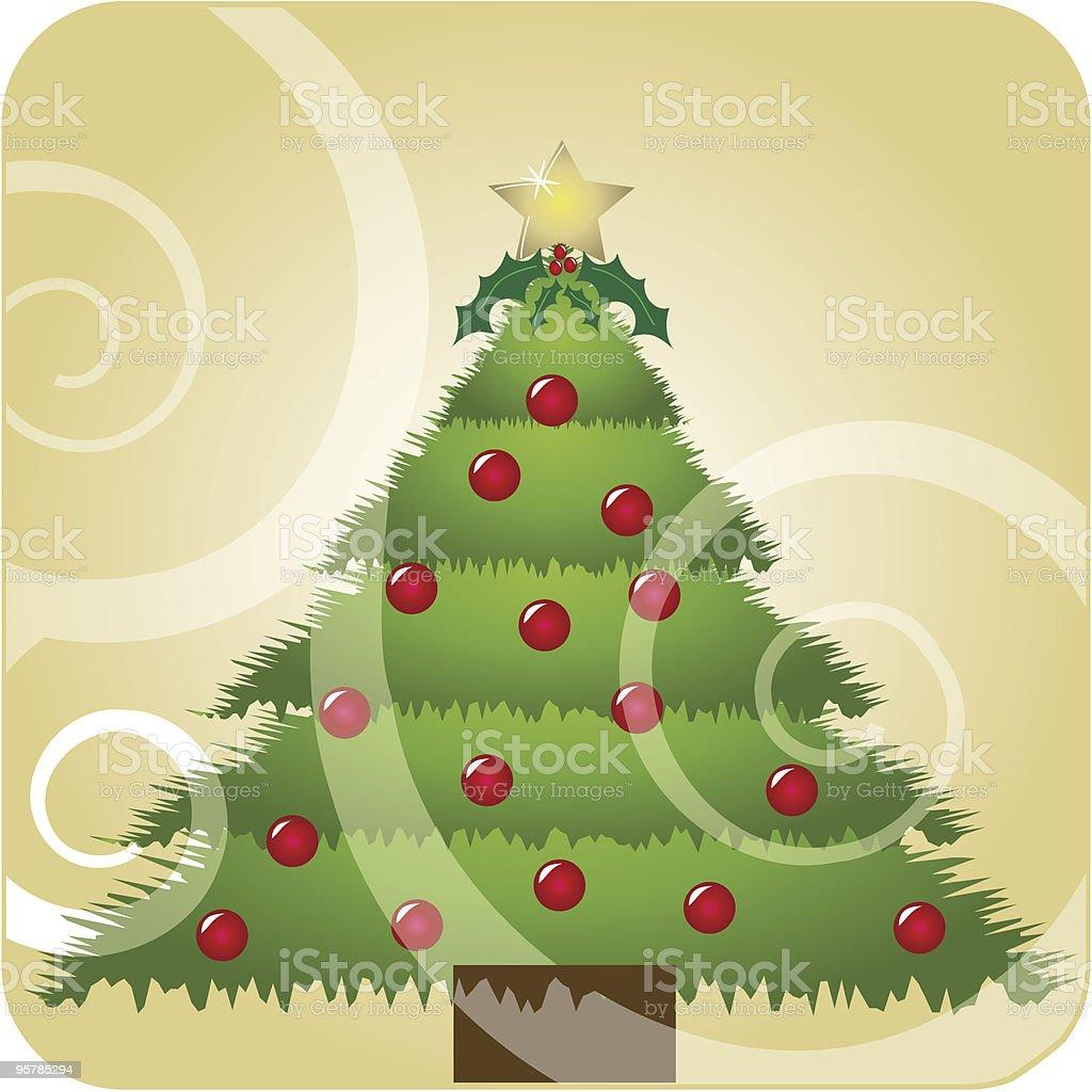 Christmas tree with swirls royalty-free stock vector art