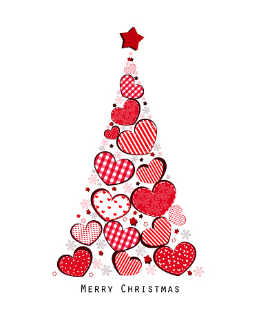 Christmas tree with valentine hearts and snowflakes