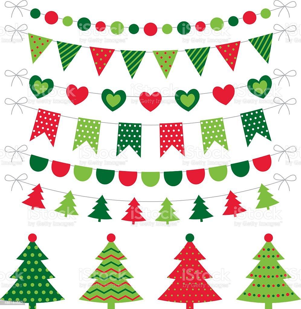 Árboles de Navidad y decoración vector set - ilustración de arte vectorial