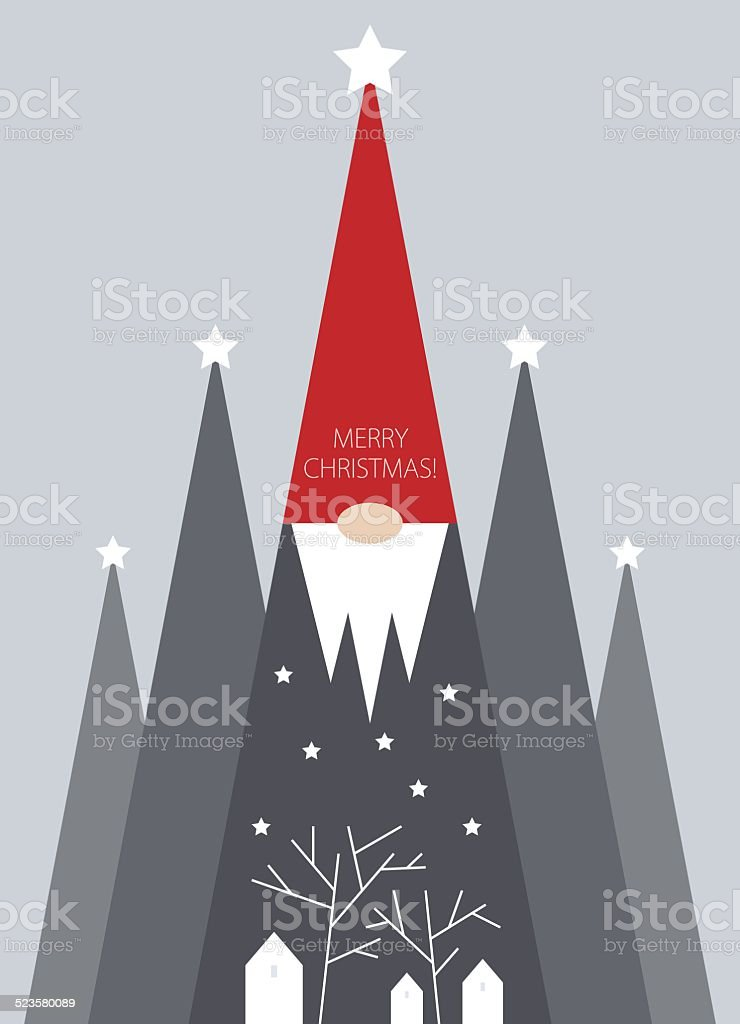 Christmas trees and gnome vector art illustration