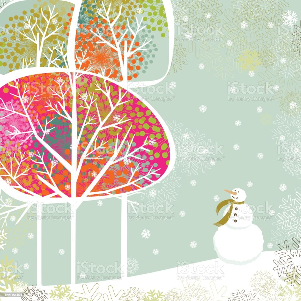 Christmas trees and snowman vector art illustration