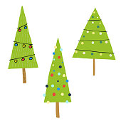 Vector illustration of a set of cute and colorful Christmas trees collection