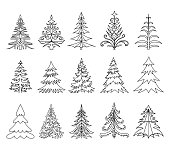 Christmas Trees Doodle Set