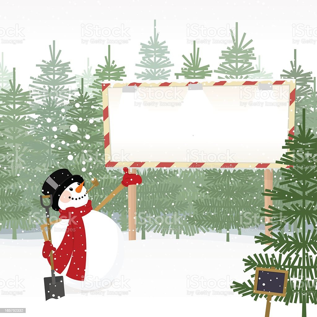 Christmas trees for sale and snowman with billboard vector art illustration