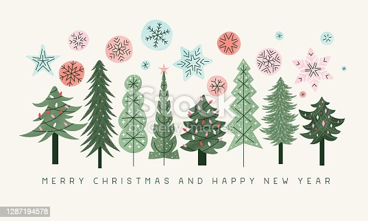 Retro Christmas trees with colorful snowflakes. Editable vectors on layers.