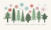 istock Christmas trees greeting card 1287194578