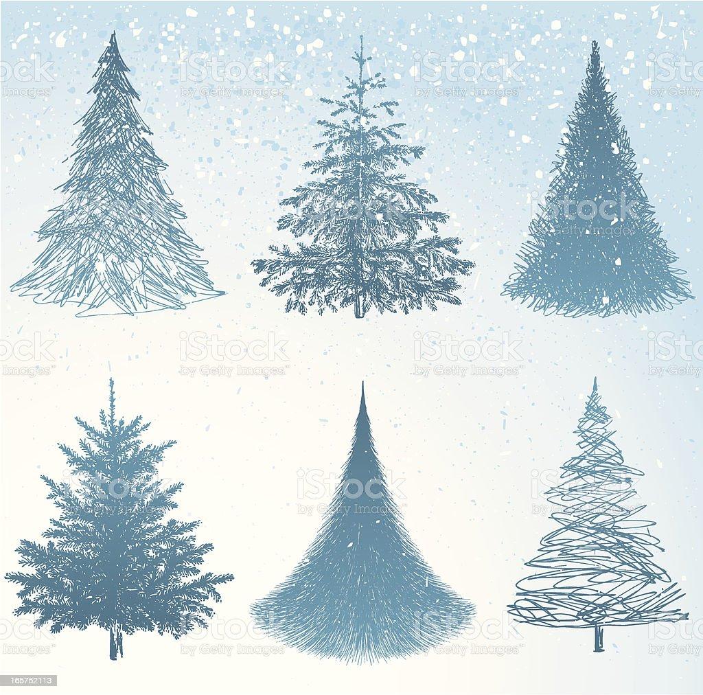 Christmas Trees Hand Drawn vector art illustration
