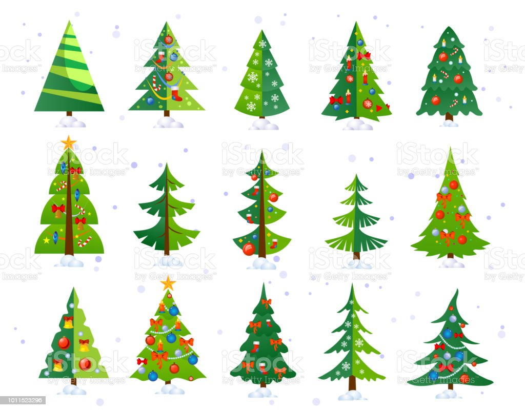 Christmas Trees Icon Set Isolated On White Background Cute