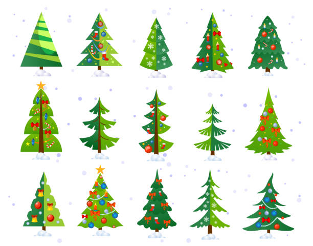 ilustrações de stock, clip art, desenhos animados e ícones de christmas trees icon set isolated on white background. cute christmas trees with toys and snow. new year decorations. vector ilustration. - christmas tree