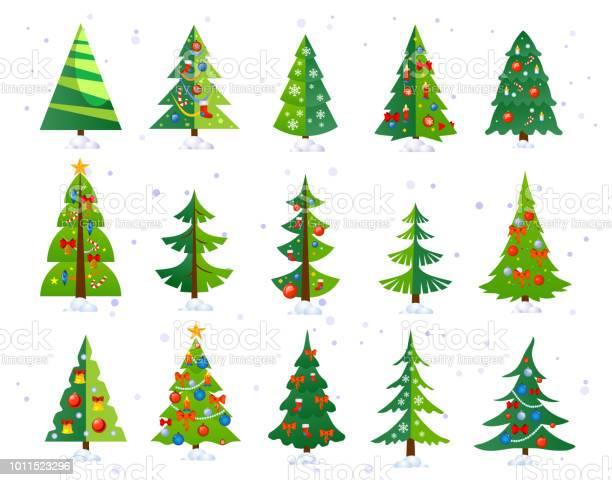 Weihnachten Symbolsatz Bäume Isolierten Auf Weißen Hintergrund Niedliche Weihnachtsbäume Mit Spielzeug Und Schnee Neujahrdekorationen Vektorillustration Stock Vektor Art und mehr Bilder von Baum