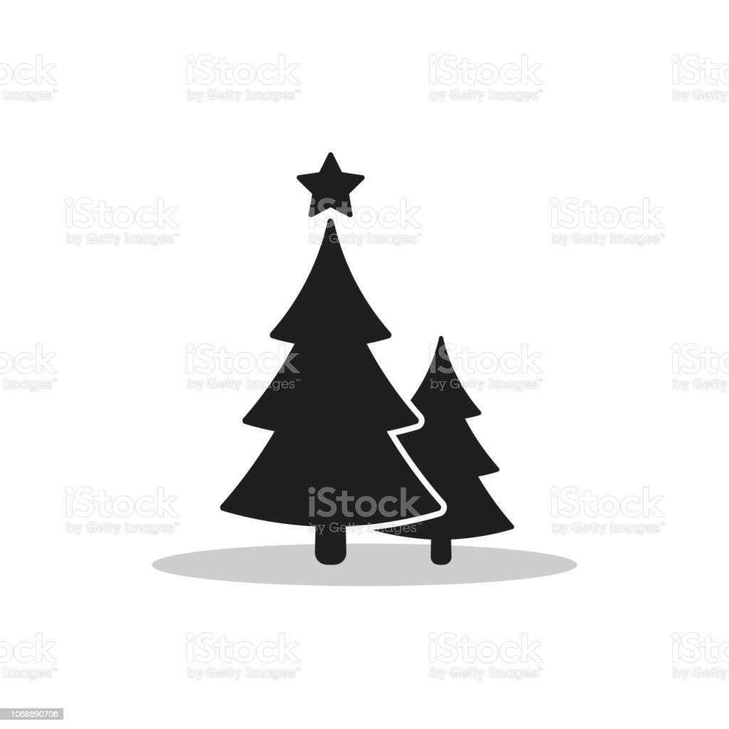 Christmas Trees Icon Vector Flat Design Black Symbol Of Two Firtree
