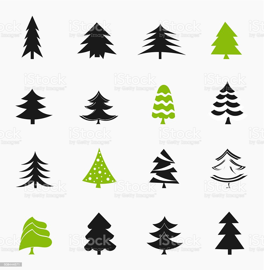Christmas trees icons vector art illustration