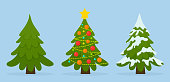 Vector set of Christmas trees in different situations. Colorful balls, garland lights, snow.
