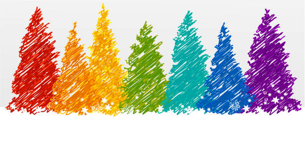 Christmas trees in rainbow colors Rainbow Christmas background gay person stock illustrations