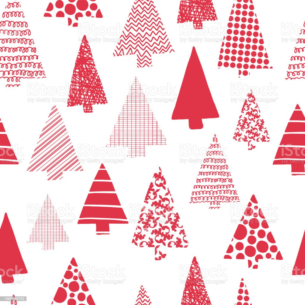 Christmas Trees Silhouette.Christmas Trees Modern Vector Seamless Pattern Red Christmas