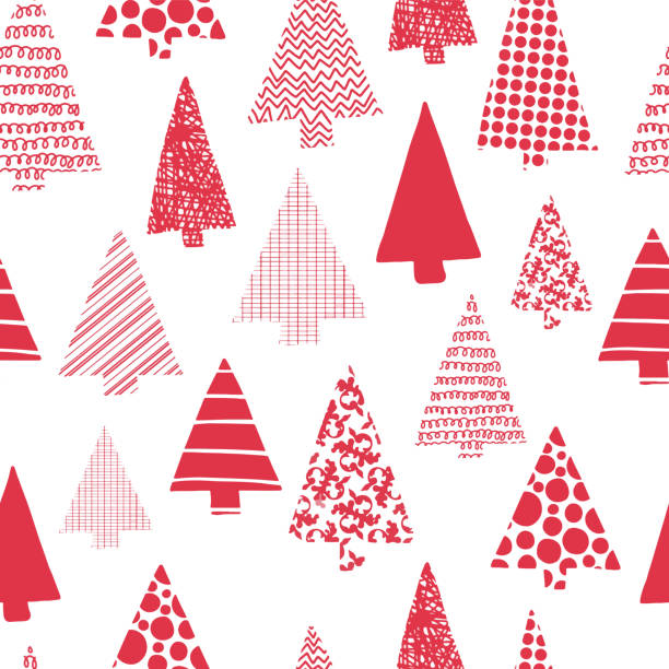 Christmas trees modern vector seamless pattern. Red Christmas tree silhouettes on a white background. Modern Christmas design. Perfect for Christmas cards, gift wrap, fabric, and packaging. vector art illustration