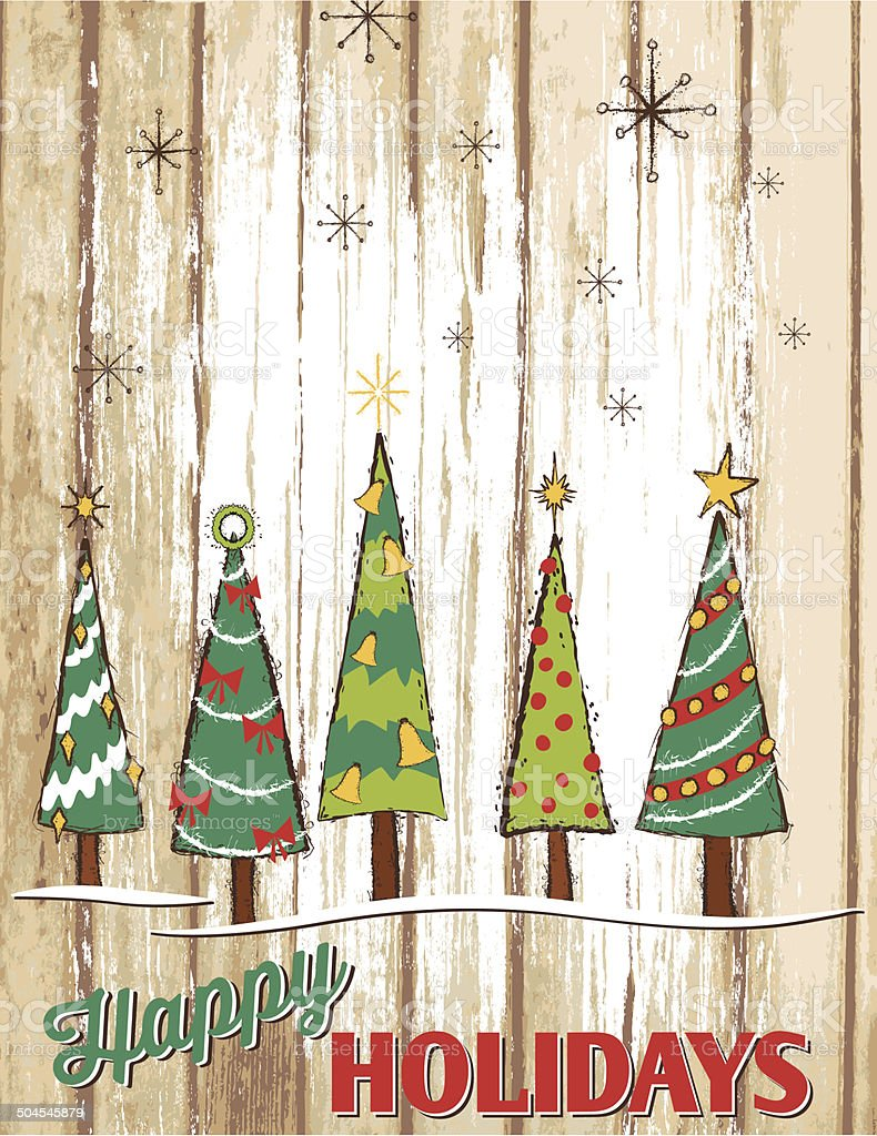 Christmas Trees Painted Wood Holiday Sign Stock Illustration