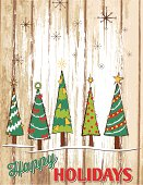 Christmas Trees Painted Wood Holiday Sign