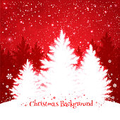 Christmas trees red and white background.