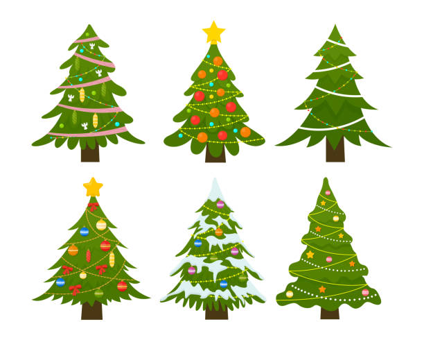 Christmas trees set. Decorated winter tree with Garland lights, decoration balls and lamps. vector art illustration