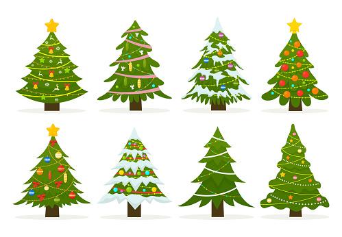 Christmas trees set isolated on white background.