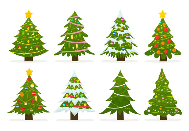 Christmas trees set isolated on white background. Christmas trees set isolated on white background. Colorful winter trees collection for holiday xmas and new year. Vector illustration. christmas trees stock illustrations