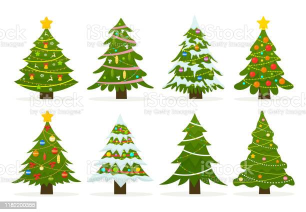 Weihnachtsbäume Isoliert Auf Weißem Hintergrund Gesetzt Stock Vektor Art und mehr Bilder von Baum