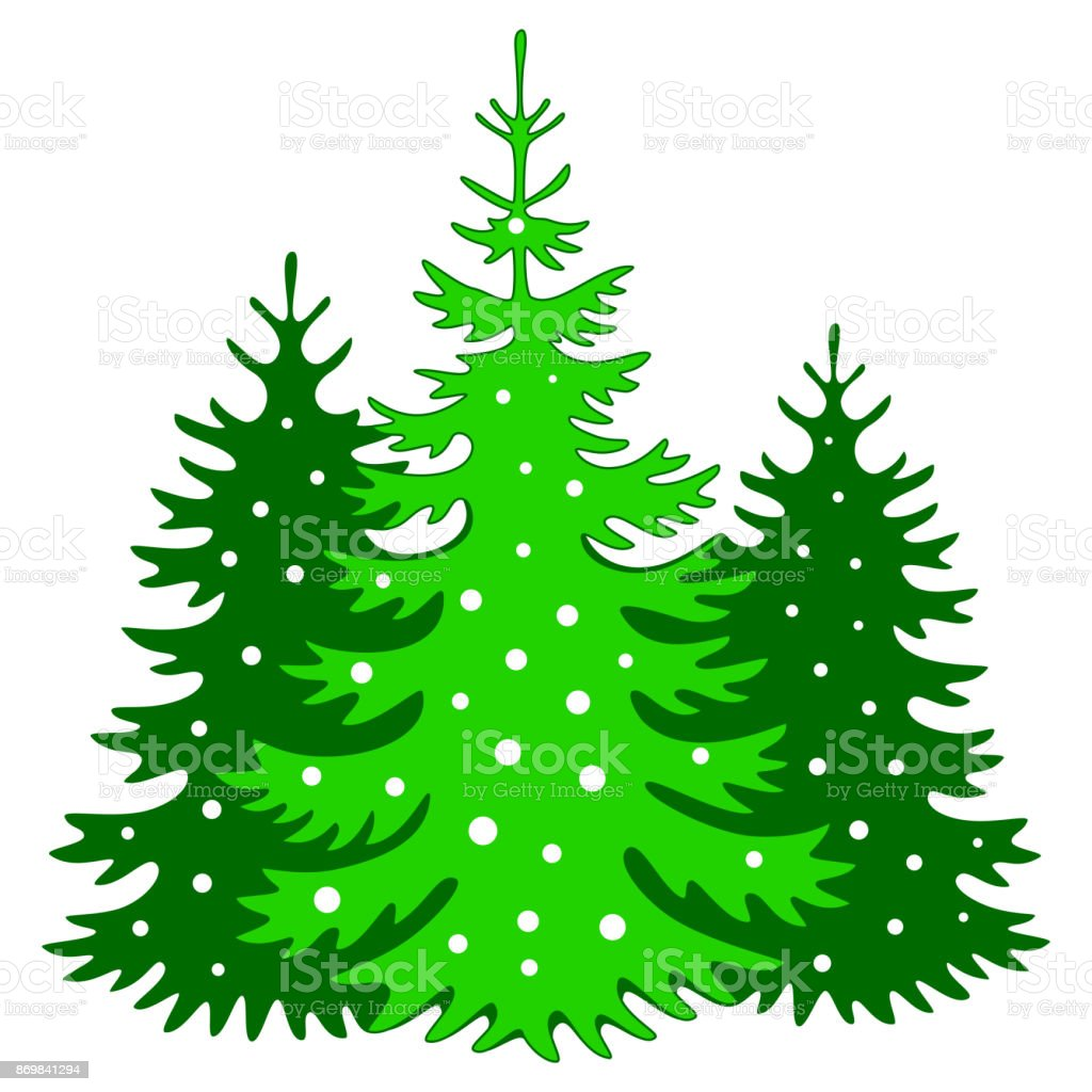 Christmas Trees Silhouette.Christmas Trees Silhouette With Snowflakes Stock