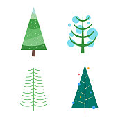 Vector illustration of a set of Christmas trees in a minimalistic and flat design style.