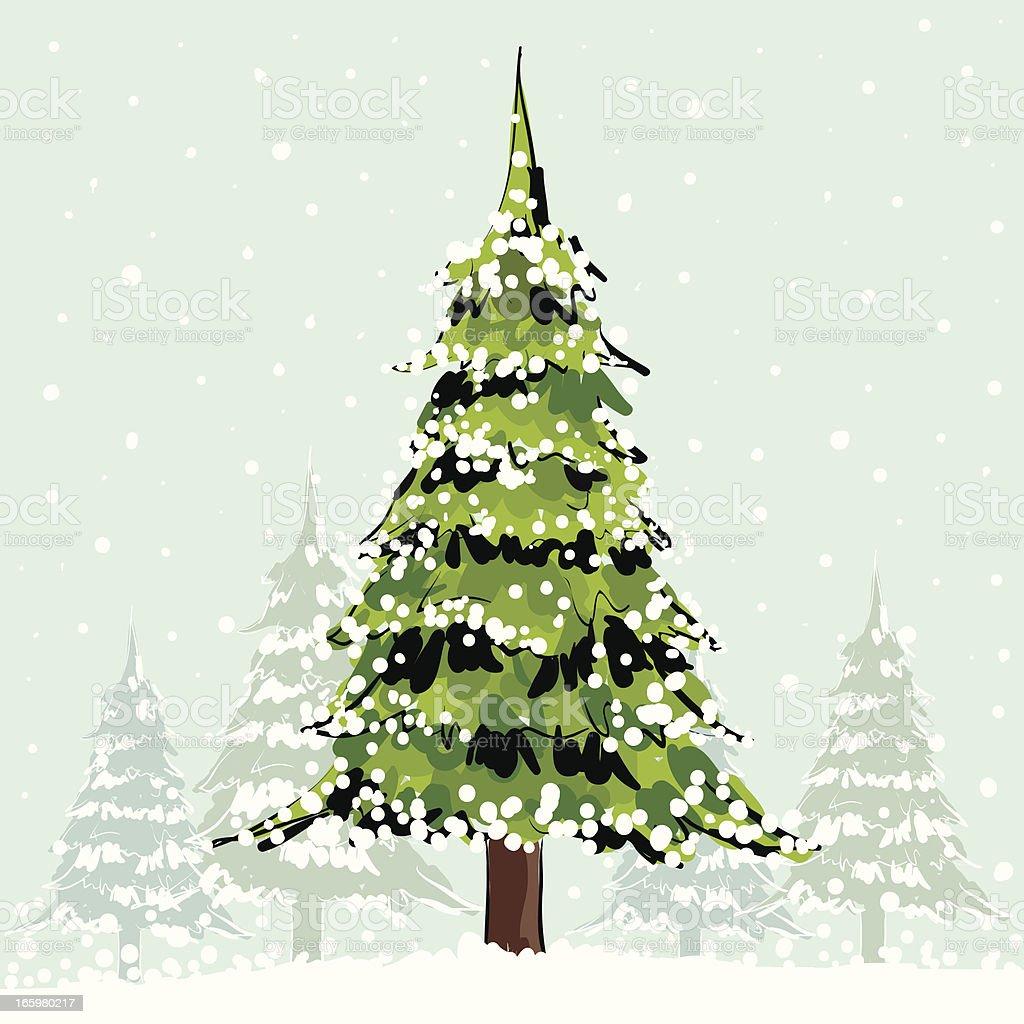 Christmas trees vector art illustration