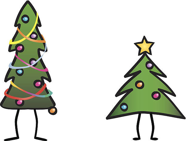 Tall Christmas Tree Cartoon.Best Tall Christmas Tree Illustrations Royalty Free Vector