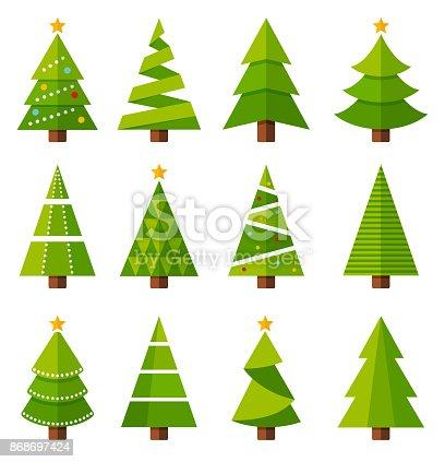 Christmas tree icon set - vector illustration