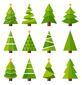 Christmas tree icon set - vector illustration