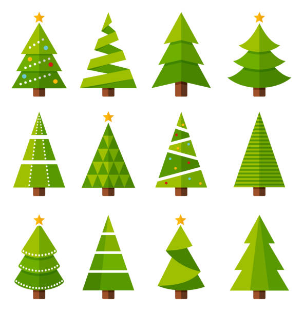 Christmas trees Christmas tree icon set - vector illustration christmas tree stock illustrations
