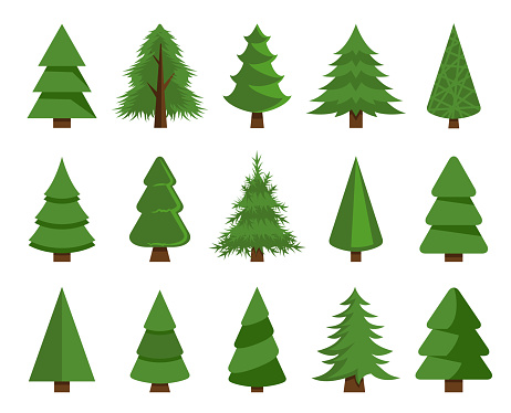 Christmas trees vector set stock illustration
