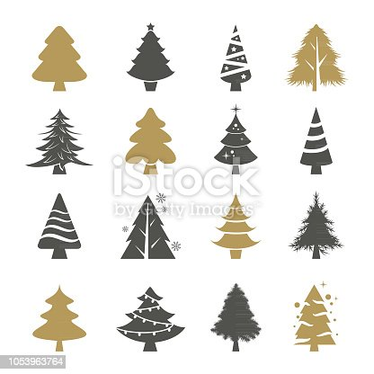 Vector set of the christmas trees