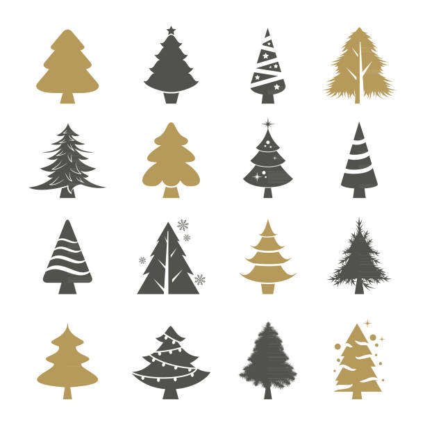 Christmas trees vector set Vector set of the christmas trees christmas symbols stock illustrations