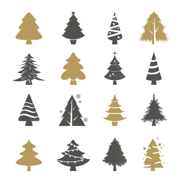 illustrations, cliparts, dessins animés et icônes de arbres de noël vector ensemble - sapin