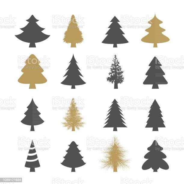 Weihnachtsbäume Vektorsatz Stock Vektor Art und mehr Bilder von Abstrakt