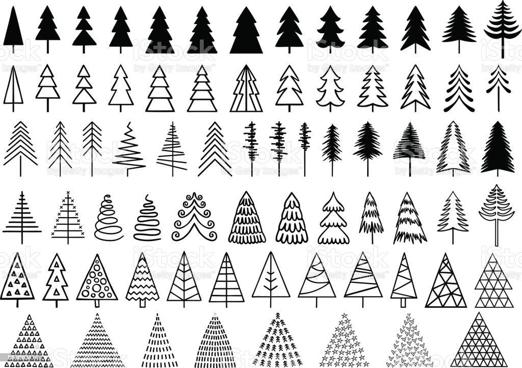 Christmas trees, vector set vector art illustration