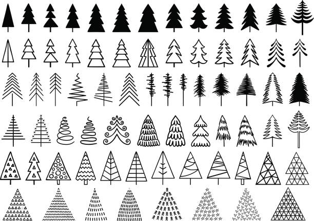 Christmas trees, vector set 72 Christmas trees for modern, minimalist cards, set of vector design elements christmas icons stock illustrations
