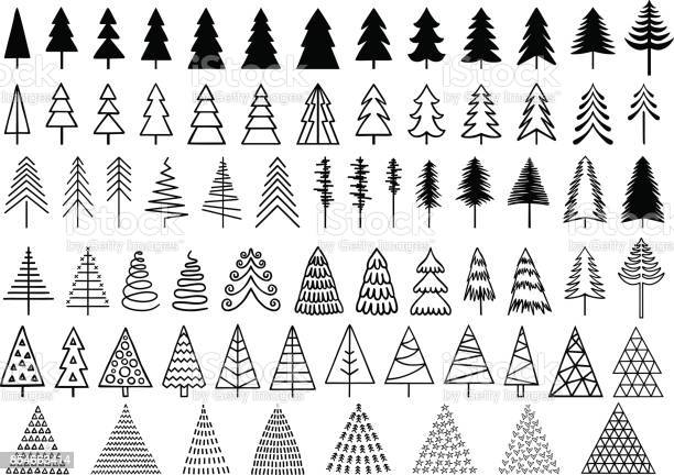 72 Christmas trees for modern, minimalist cards, set of vector design elements
