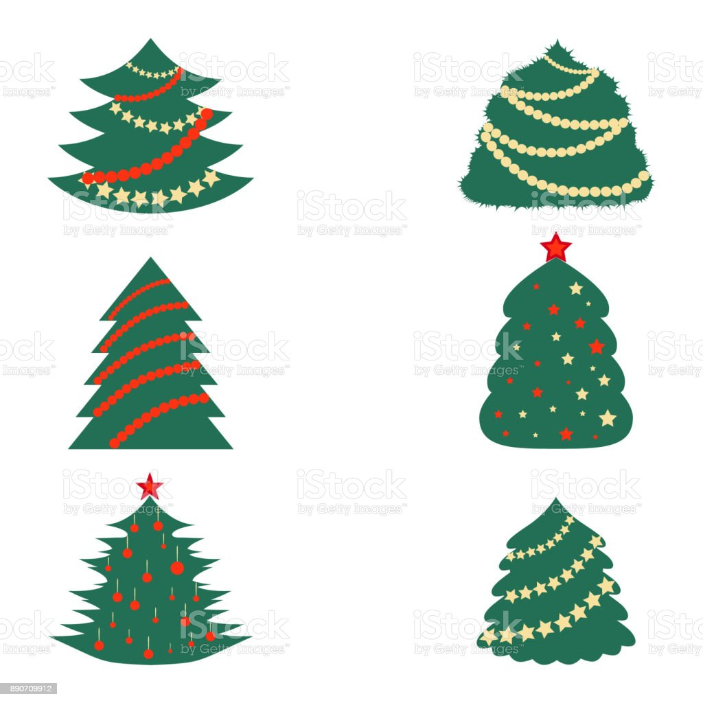 Christmas Trees with Decoration vector art illustration