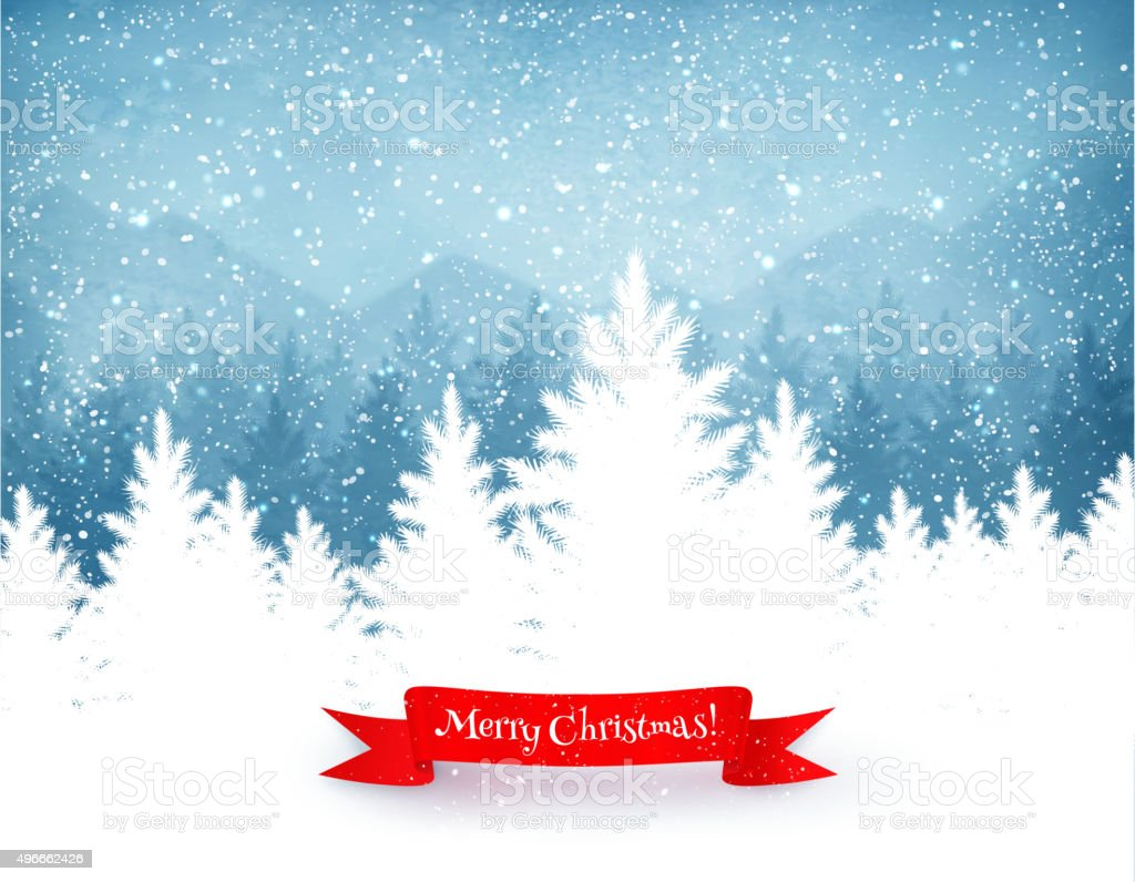Christmas trees with falling snow vector art illustration