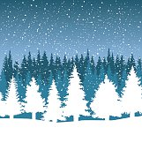 Christmas trees with falling snow. Global colour used.