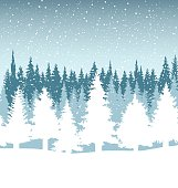 Christmas trees with falling snow