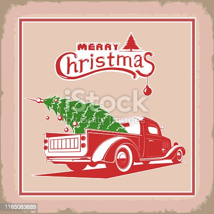 Christmas truck, side view color, old card style, rear